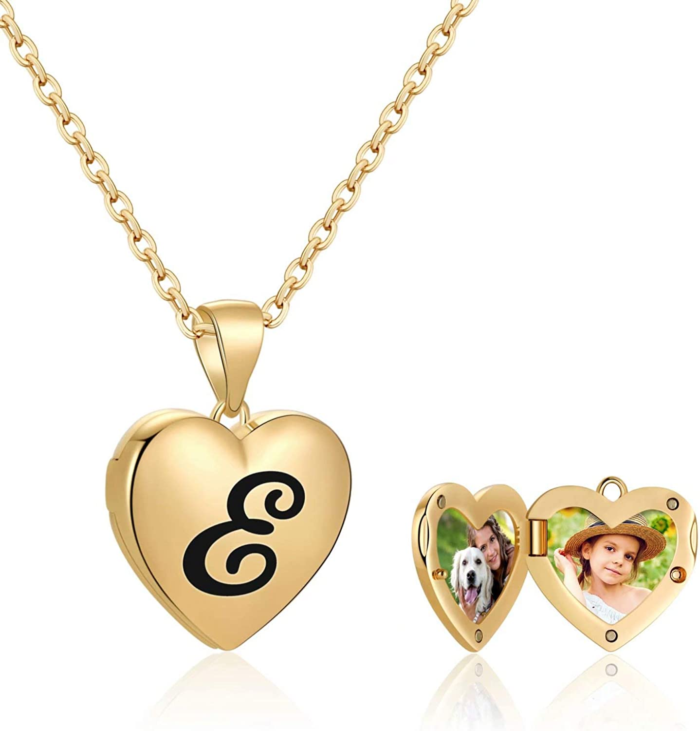 IEFWELL Locket Necklaces That Holds Pictures, 14K Gold Plated Heart Picture Necklaces for Women Girls Initial Locket Necklaces for Kids Teen Girls