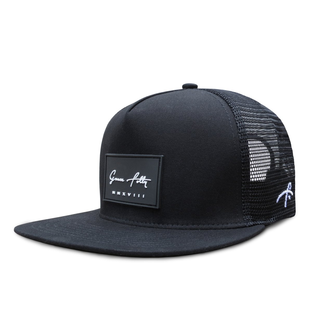 timeless design 50b76 d5cb1 SMOOTH TRUCKER- This Black Grace Folly flat bill trucker hat is sure to  impress! Structured 5 panel trucker cap with mesh back and adjustable  snapback.