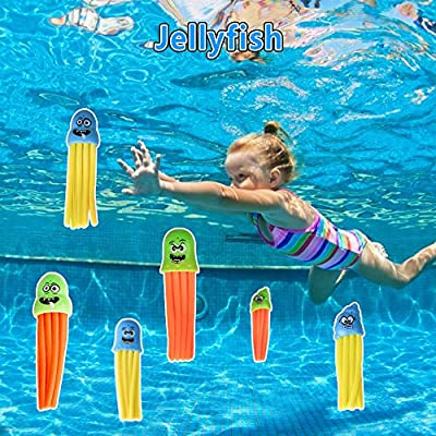 Epeolatry Diving Pool Toys Underwater Swimming Games for Kids Diving Fish Rings Diving Sharks Stringy Octopu Pirate Treasures Seaweed