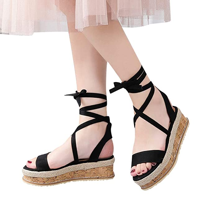 3eea14a0f2d5 Women Open Toe Crisscross Strappy Shoes Platform Wedges Thick-Bottom  Waterproof Wedge Sandals (US