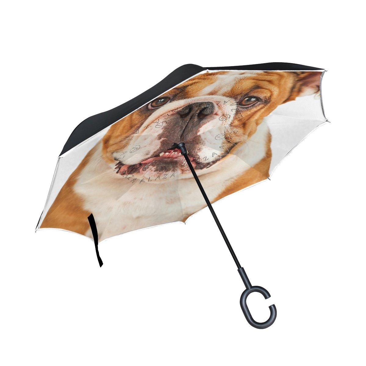 BENNIGIRY Bulldog Face Pug Reverse pieghevole a doppio strato antivento invertito ombrello con manico a mani libere per viaggiare e auto uso