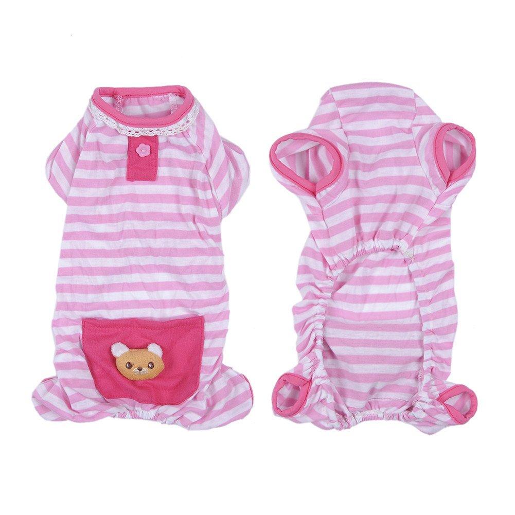 Simpatico pigiama a strisce in morbido cotone per cani e gatti abbigliamento per clima fresco estivo