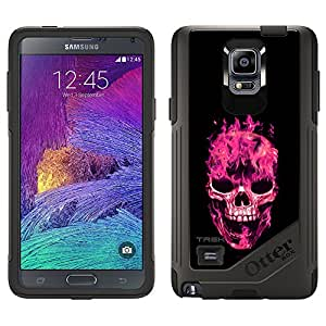 Skin Decal for OtterBox Commuter Samsung Galaxy Note 4 Case - Pink Flaming Skull on Black