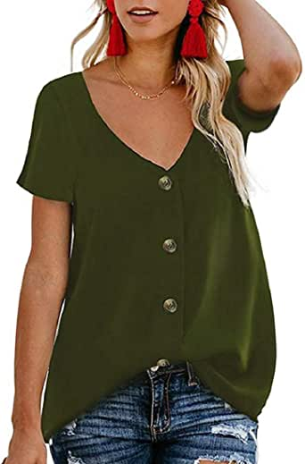 Women's Button Down V Neck T Shirt Short Sleeve Loose Casual Shirts Blouses Summer T-Shirt Tee Tops Army Green