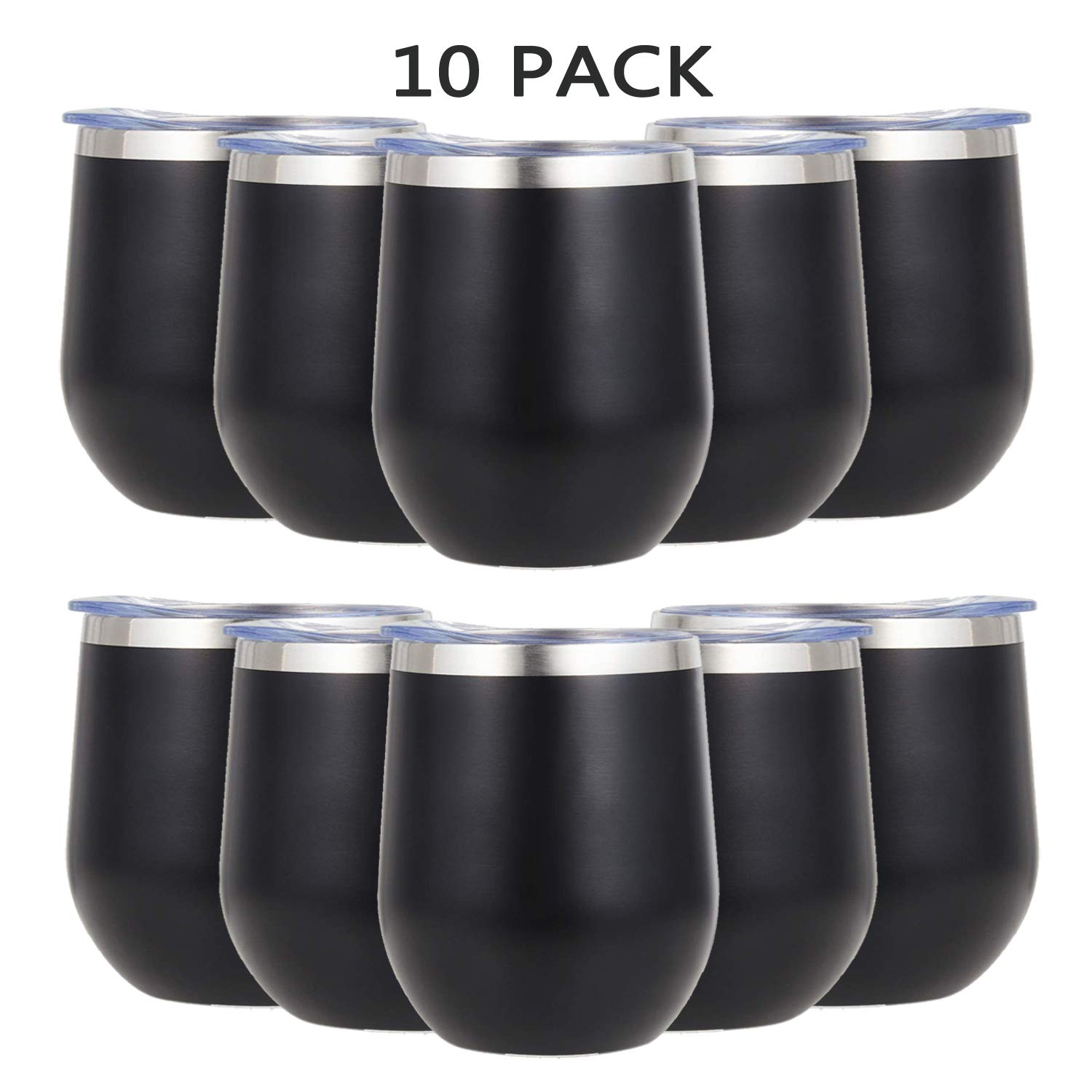 ONEB Stainless Steel Wine Tumbler with Lid, 12 OZ | Double Wall Vacuum Insulated Travel Tumbler Cup for Coffee, Wine, Cocktails, Ice Cream Thermos Cup With Lid (Black/10 pack)