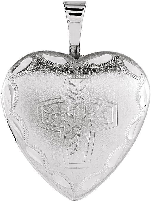 DiamondJewelryNY Sterling Silver Cross with Heart Pendant