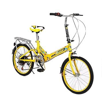 LETFF Adulto Bicicleta Plegable De 20 Pulgadas De Engranajes Estudiante De Acero De Alto Carbono Amortiguador