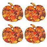 Set of Four Pumpkin Shaped Air Fresheners With Autumn Leaf Pattern, Cedarwood Essential Oil