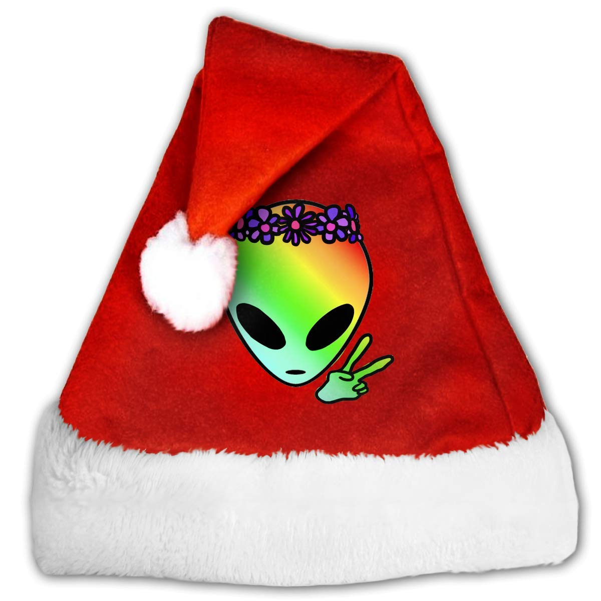 1461ffbcc6cba Amazon.com  cnaegaa Cool Alien Christmas Hat Or Nice Festive Holiday Hat  for Childrens and Adults Pleuche Santa Hat Red  Clothing