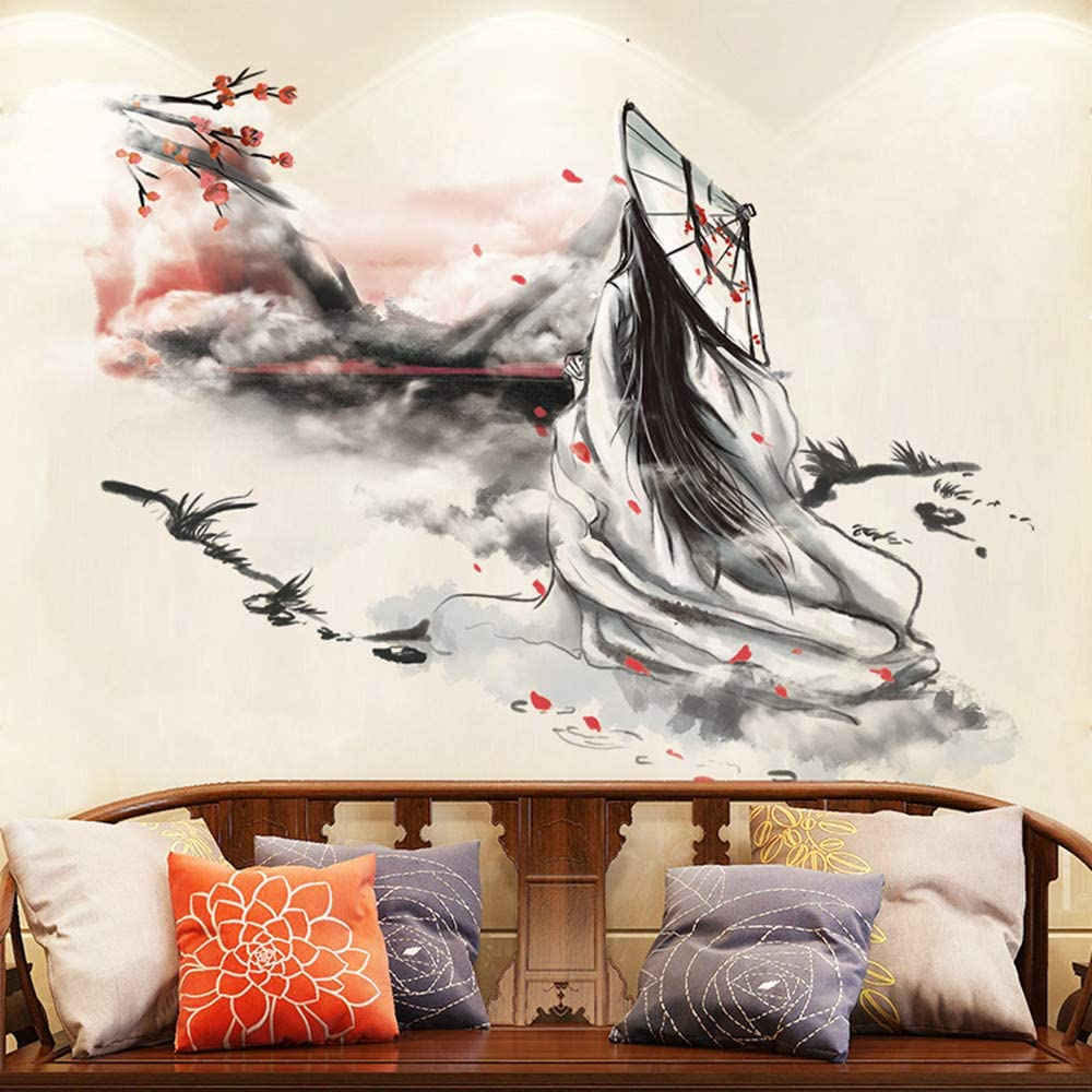 Wall Mural Decal for Living Room, Chinese Style Wall Stickers as Wall Decor for Bedroom | 73cm x 90cm Removable Stickers for Walls Decoration as Housewarming Birthday