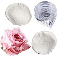 10 Pcs Austin Rose Cutter Set and 2 Pcs Rose Petals Shape Silicone Fondant Mold Veining Petal Sugar Flower Making Tool…