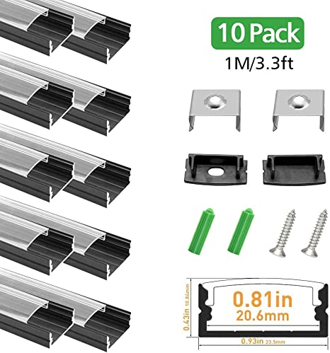 LED Aluminum Channel with Clear Cover LightingWill 10 Pack 3.3Ft//1M U Shape Surface Mount Anodized Silver Channel System for 20mm LED Strip Lights with Caps+Clips U04 Section Size:0.40 x 0.91