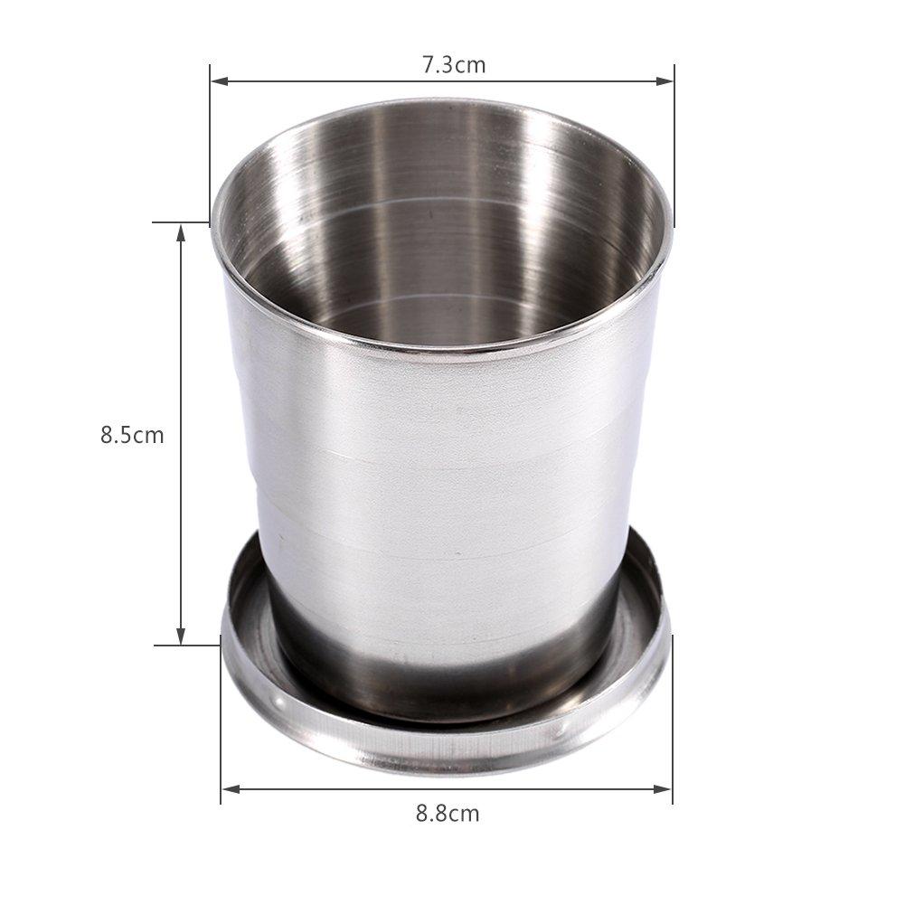Puede ser un vaso de acero inoxidable de camping de excursi/ón plegado telesc/ópico L)