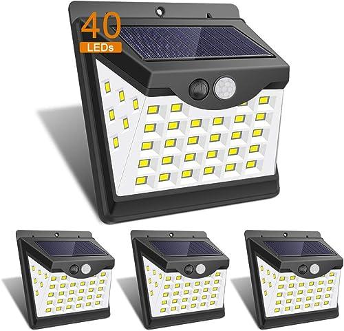 KUBOM KB-SLO-01 Solar Lights Outdoor 40 LED 3 Optional Modes Security Solar Motion Sensor Lights Wireless IP 65 Waterproof Outdoor Lights 4 Packs