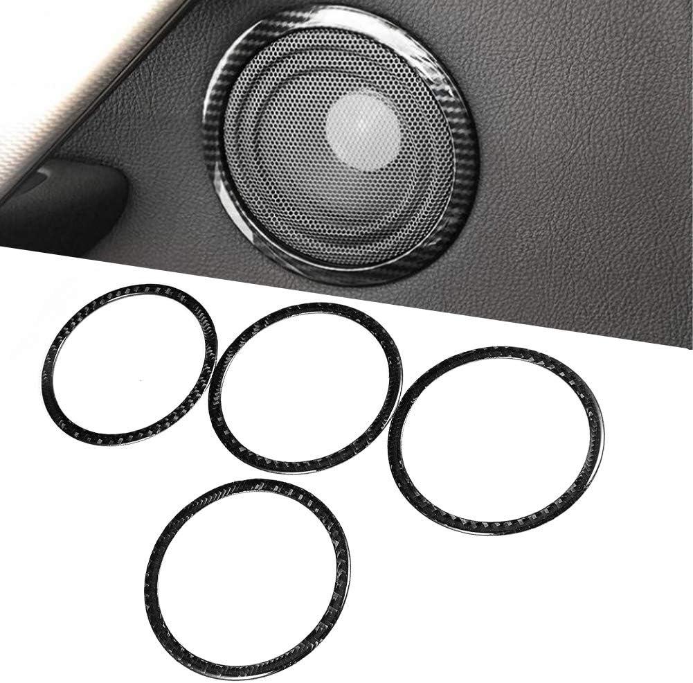 4 Uds Decoraciones de Altavoz Anillos Circulares Adornos de Cubierta de Fibra de Carbono Puerta de Coche Audio Sonido Altavoces Adornos Aptos para F25 X3//F26 X4//F07 5GT