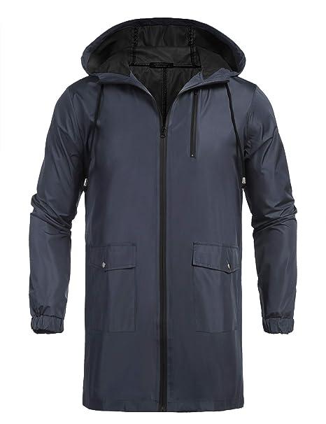 Amazon.com: COOFANDY - Chubasquero con capucha para hombre ...