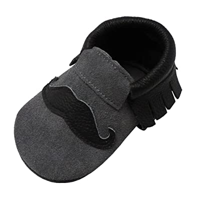Amazon.com | Mejale First Walker Shoes Toddler Baby Leather Slipper Little Boy Girl Crib Moccasins Lovely Beard | Slippers