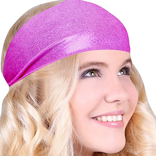 [Best No Slip Shiny Pink Printed Headband Wicking Work Out Wide Yoga Running Crossfit Comfortable Spandex Perfect Gift Made in] (80s Costumes For Family)
