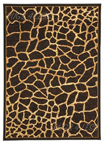 Rugs 4 Less Collection Giraffe Skin Animal Print Area Rug (5'X7')