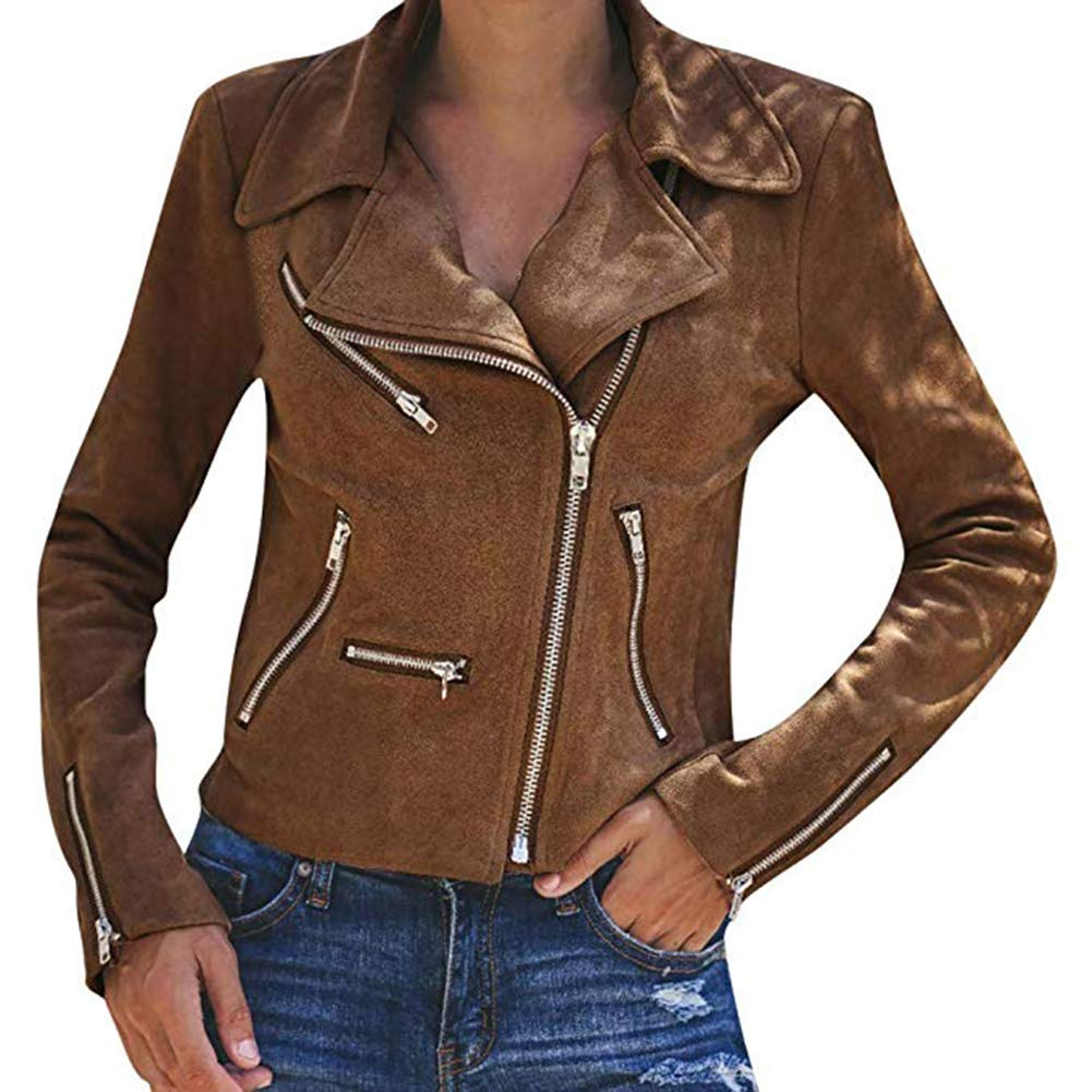 Women's Leather Jackets Casual Coats Short Soft Zip Up Biker Flight Tops Clothes