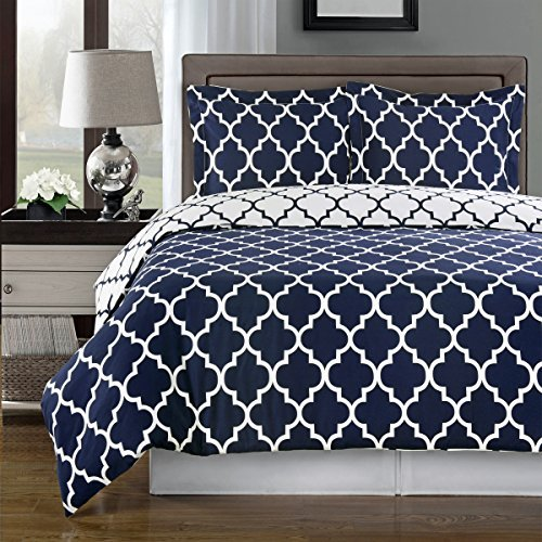 Navy and White Meridian Reversible 3-piece Full/ Queen Cover (Duvet-Cover-Set) 100 % Cotton 300 TC