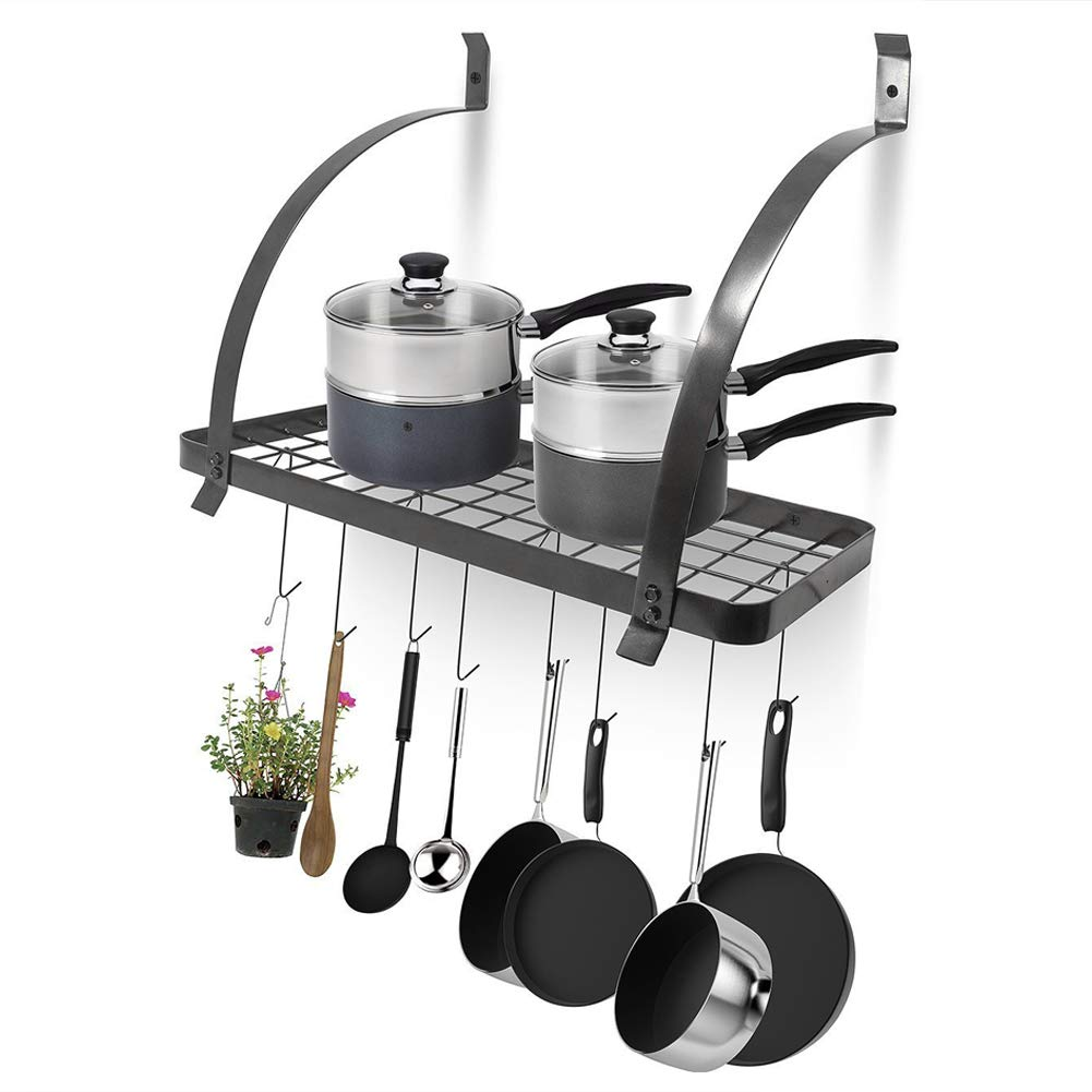 Ceiling Rack, Ceiling-Mounted Hanging Pan Rack, Pot & Pan Rack Hanging Ceiling Hanging Shelf Hanger with 10 Hooks, 60 * 25 * 52cm Zerone