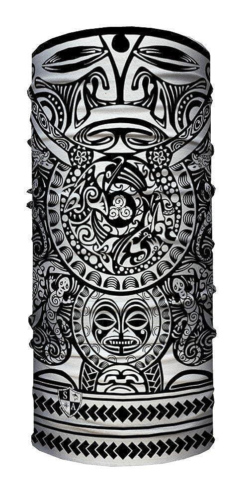 SA Face Shield Bandana Máscaras Polynesian Tribal Black & White 50337x