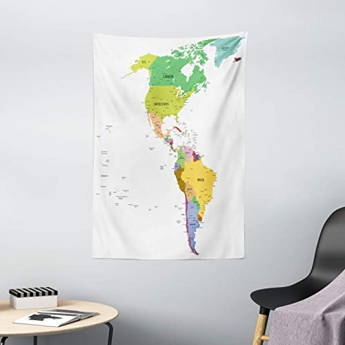 Ambesonne Map Tapestry, Map of South and North America with Countries Capitals and Major Cities Colorful Design, Wall Hanging for Bedroom Living Room Dorm Decor, 40 X 60 , Green Beige
