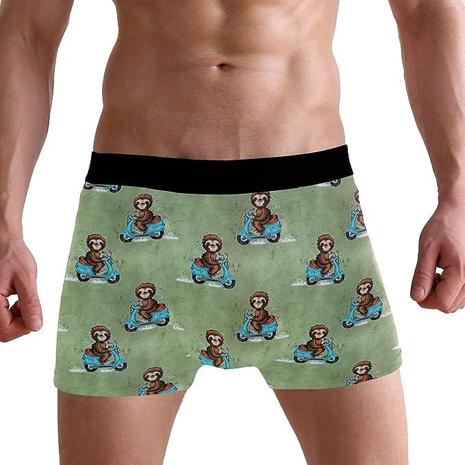 Mens Underwear Pouch Custom Cute Funny Sloths Breathable Boxer Briefs Shorts