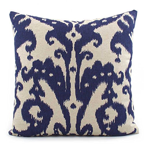 Chloe & Olive Batik Indian Southwestern Throw Toss Pillow - Blue and Cream - Size Options 18