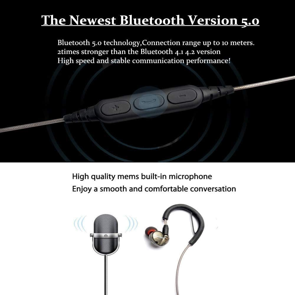 hellodigi DD4 MMCX Cable,Newest Bluetooth 5.0 Replacement Earphone Cable Upgrade Audio Cable with HD Mic in-line Remoter,for Shure SE215 SE535 SE846