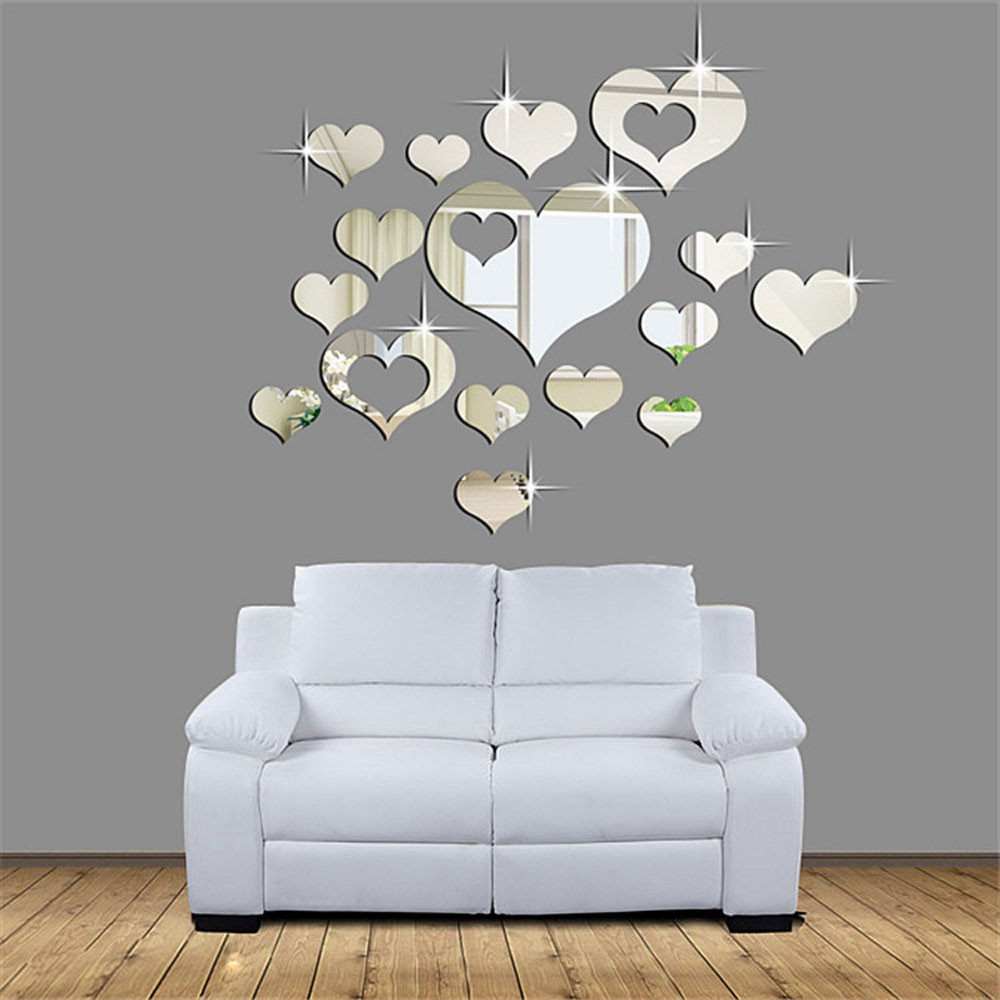 Ikevan 1Set 15pcs 3D Acrylic Heart-shaped Mirror Wall Stickers Plastic Removable Heart Art Decor Wall Poster Living Room Home Decoration,Multi-size,Silver(Smal)