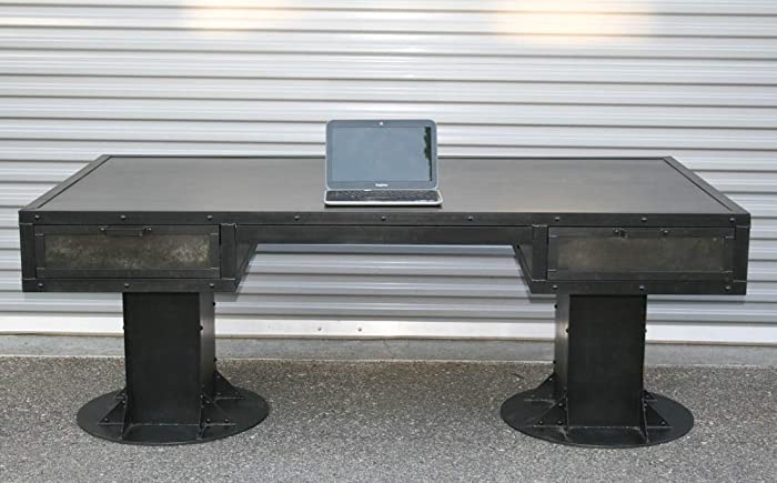Amazon.com: Industrial Desk with Drawers. Modern Industrial ...
