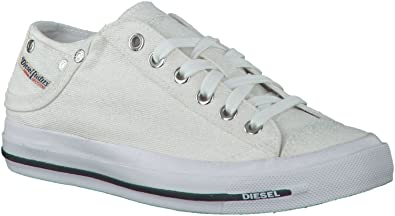 87c265b7fb4ccb Diesel Exposure IV Low W White Glitter Womens Canvas Trainers-5 ...