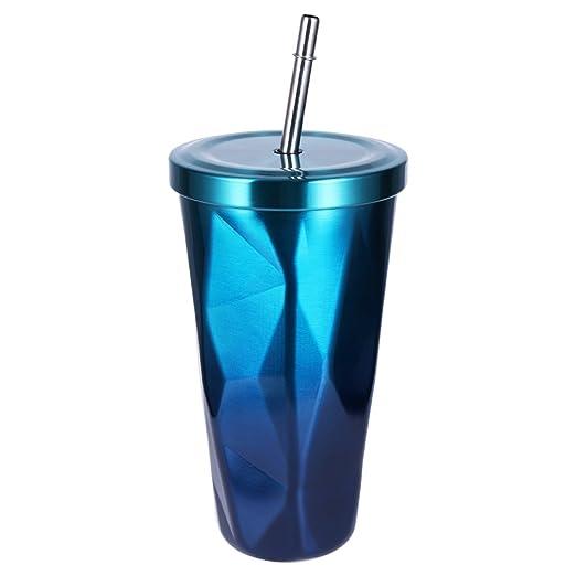 BESTONZON Vasos de Acero Inoxidable – Taza de Viaje con Tapa Pajita Doble Pared Tazas de café Tazas 500 ML de Diamante Irregular (Azul y Verde)