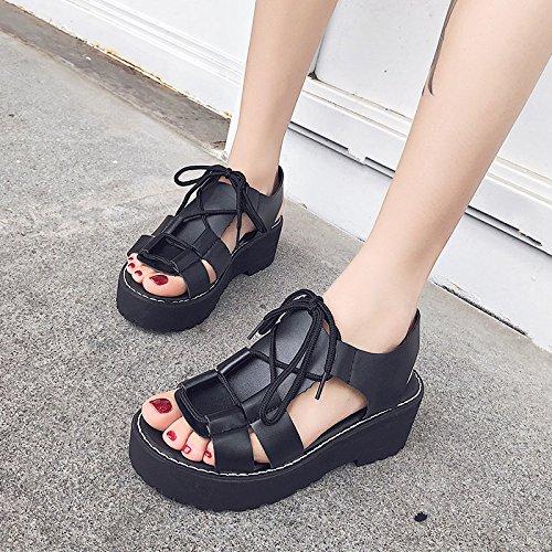 De De El Negro Bizcocho GAOLIM Gruesos Taiwán Verano Dos Impermeable Zapatos Estudiante Sandalias Desgaste SXwX0