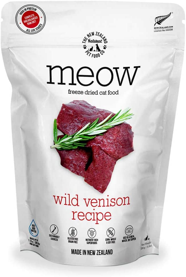 The New Zealand Natural Pet Food Co. Meow Wild Venison Freeze Dried Raw Cat Food, Mixer, or Topper - High Protein, Natural, Limited Ingredient Recipe 9 oz, Brown (NZ-MFD280WV)