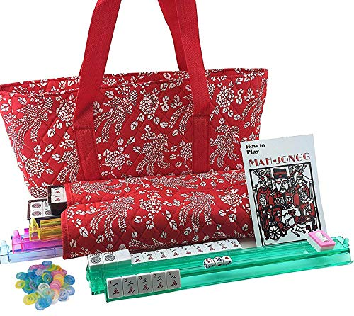 WPYST 166 Tiles American Mahjong Set Red Phoenix Soft Bag 4 Color Pushers/Racks Easy Carry Western Mahjongg