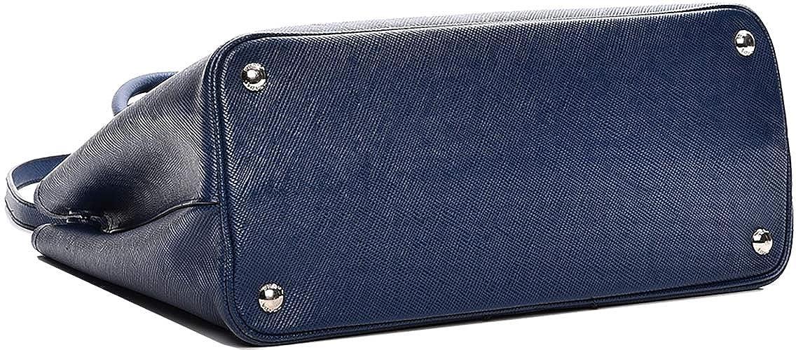07ded2cd63bc91 Blue Prada Saffiano Cuir Double Medium Tote Bag: Handbags: Amazon.com