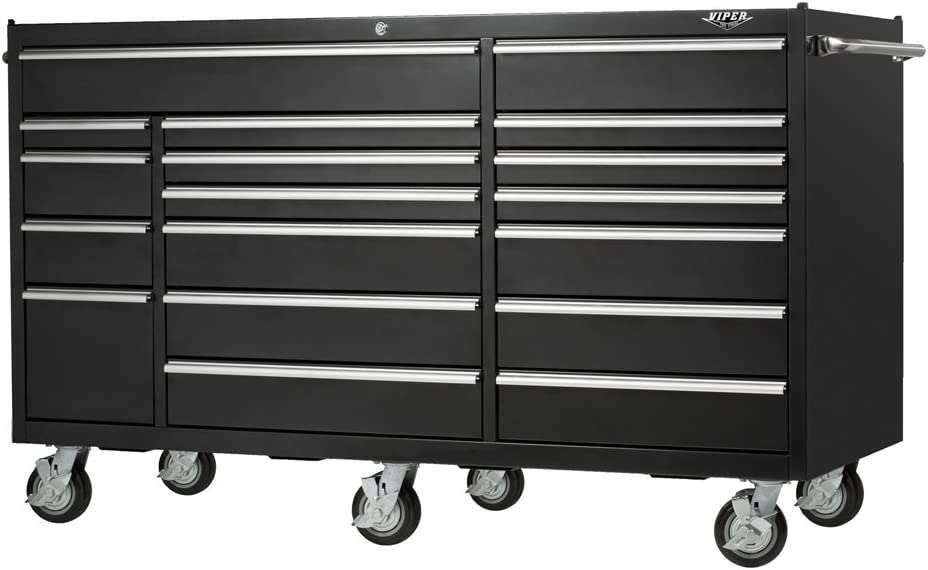 Black Viper Tool Storage VP7218BL 72-Inch 18-Drawer 18G Steel Rolling Tool Cabinet