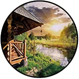 Printing Round Rug,Nature,Wooden Country House by the Lake with Horizon Background Village Rural Life View Mat Non-Slip Soft Entrance Mat Door Floor Rug Area Rug For Chair Living Room,Multicolor