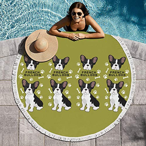 French Bulldog Cute Bone Small Canine Breed Green 60in Large Thicker Beach Towel Round Bath Beach Towel Blanket Ultra Soft Tapestry Hippie Tablecloth Perfect For Poolside Lounging Camp - Casual Backpack Hoodie Canine