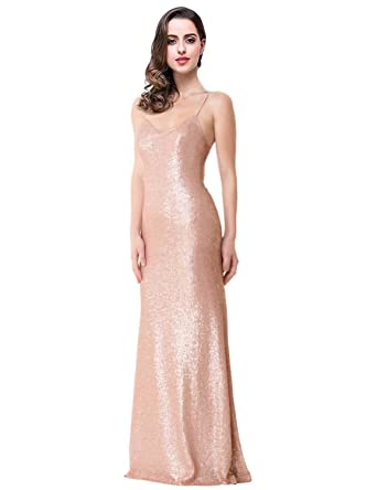 MonaBridal Womens Sequined Backless Evening Dresses V Neck Mermaid Wedding Dresses With Straps Rose Gold 2