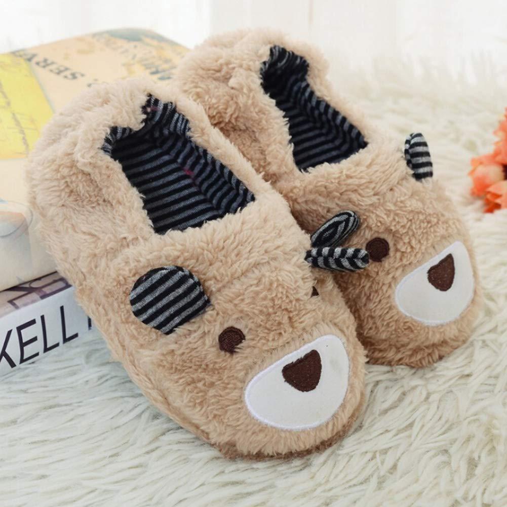 TARA SHOES Toddler Boy Girls Flat Slipper Soft Plush Home Slippers Cartoon Floor Shoes