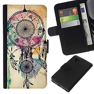 A-type (Catcher Indian Watercolor Native) Colorida Impresión Funda Cuero Monedero Caja Bolsa Cubierta Caja Piel Card Slots Para LG Nexus 5 D820 D821
