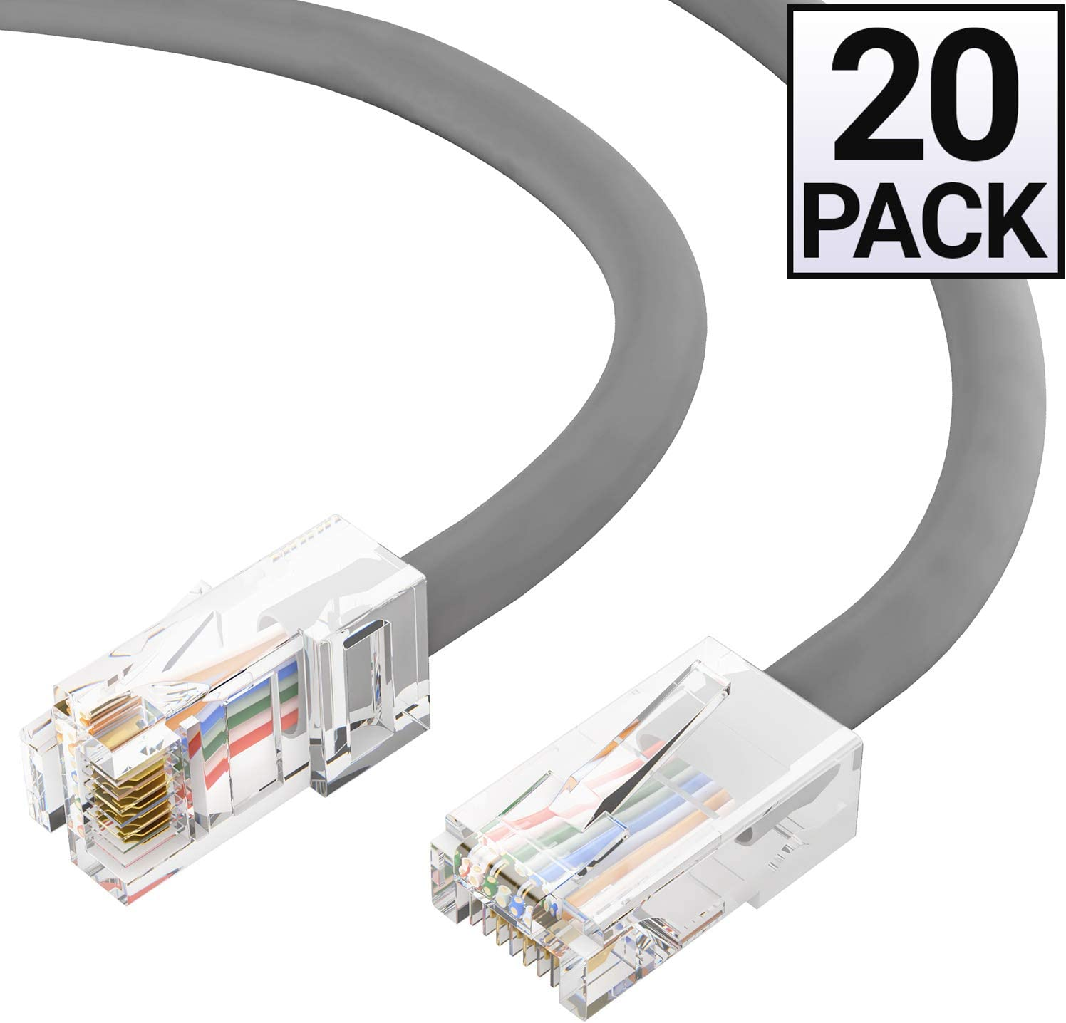 GOWOS 20-Pack CMP Cat5e Plenum Ethernet Cable 1 Feet - Gray RJ45 10Gbps High Speed LAN Internet Cord Available in 28 Lengths and 10 Colors Computer Network Cable with Bootless Connector