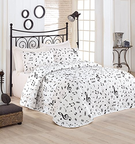 Quilt Note - LaModaHome Musical Bedding Set, 65% Cotton 35% Polyester - Feel The Music with Dancing Music Notes, White - Set of 3-100% Fiber Filling Coverlet and 2 Pillowcases for Twin Bed