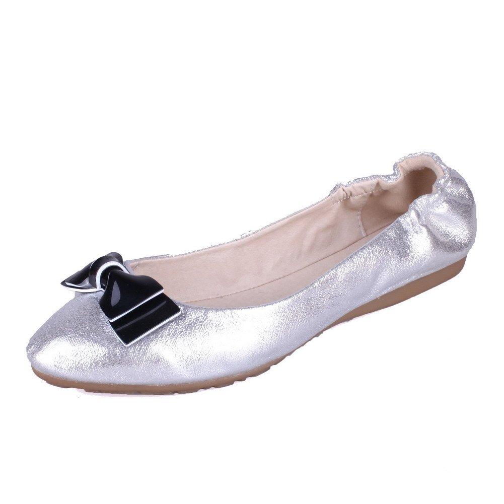 AalarDom Women's Solid PU Low-Heels Pull-On Round Cloesd Toe Pumps-Shoes, Silver, 33