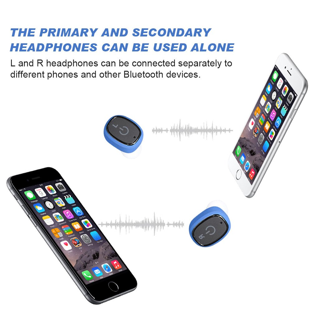Diglot True Wireless Earbuds Bluetooth 4.2 IPX7 Waterproof Anti-sweat Sports Wireless Headsets with Stereo Noise Cancelling Best Wireless Bluetooth Earbuds with Charging Case for iPhone&Android (Blue)