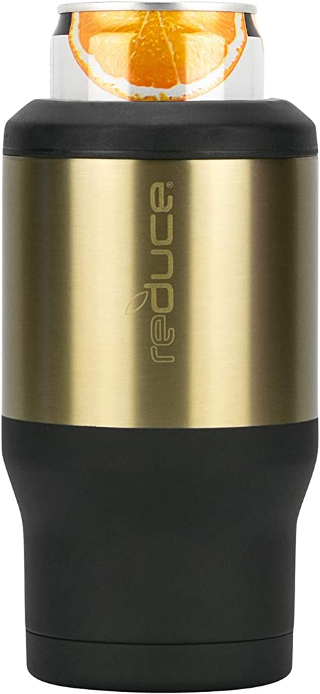 Double Wall Vacuum Insulated Holder Is Sweat-Free Ideal For Warm Days REDUCE Cold-1 Bottle//Can Cooler Copper This Can Beverage Cooler Keeps Skinny Cans /& Beer Bottles Ice Cold